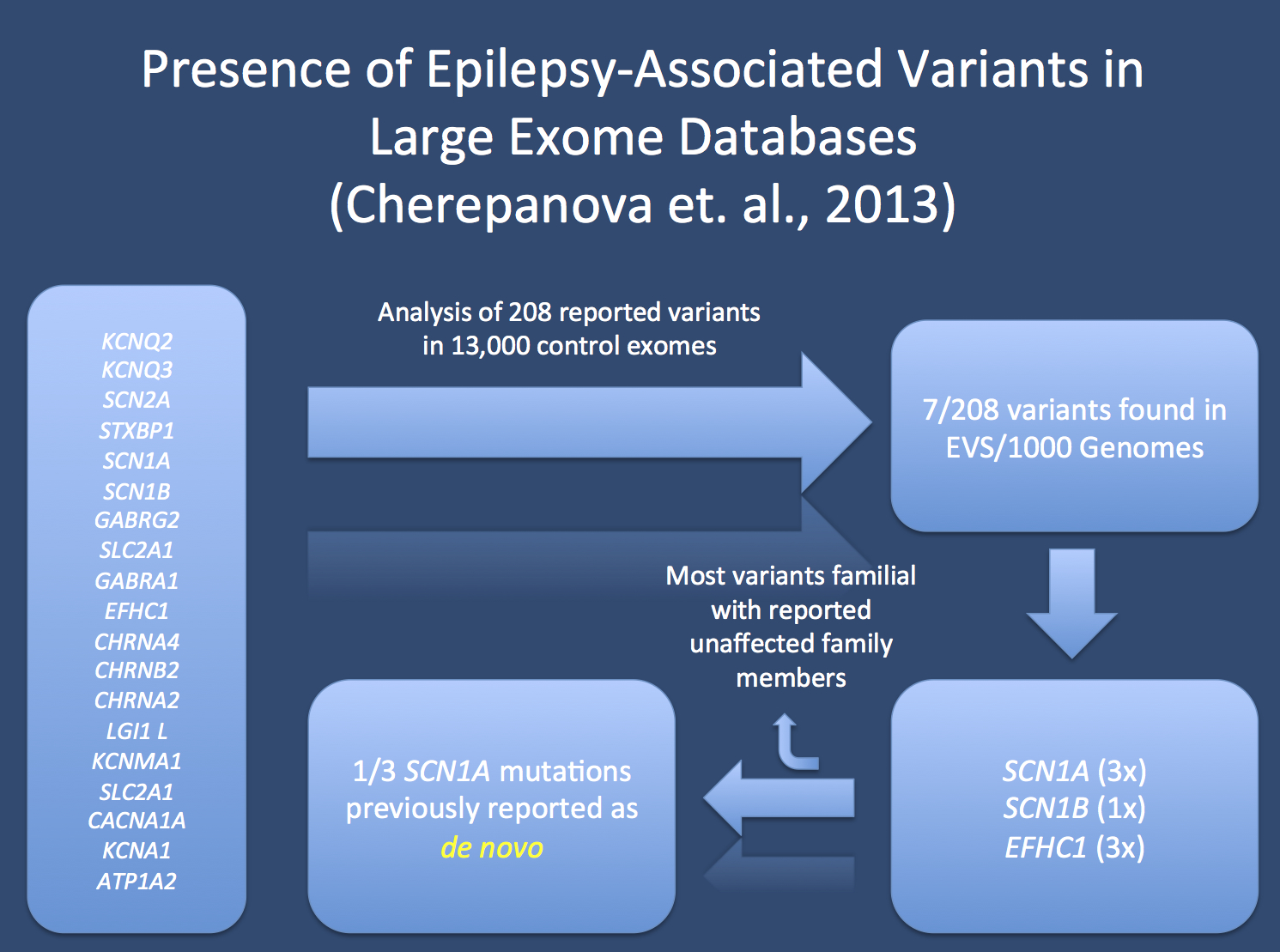 Study by Cherepanova et al. on the presence of epilepsy-related genetic variants in large exome datasets. The authors queried the Exome Variant Server and the 1000 Genomes Project for reported pathogenic variants in 19 genes known to cause epilepsy. The identified 7 variants present in these databases, including one SCN1A mutation previously reported as a de novo mutation in a patient with Severe Infantile Multifocal Epilepsy. In addition, three EFHC1 mutations appear at low frequency in these databases and are reported in 40-100 individuals in these databases.