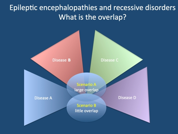 As we have written several times about possible hypotheses regarding the overlap of epileptic encephalopathies and known recessive human diseases including metabolic, storage and neurodegenerative disorders, I thought that I would explain both concepts in this figure. In Scenario A, there is a large overlap of these diseases with the epileptic encephalopathies, in Scenario B, there is little overlap. The shades of the triangles should signify the gradient from typical to atypical presentations.