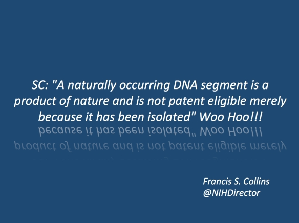 The official tweet by NIH director Francis S. Collins regarding the Myriad decision.