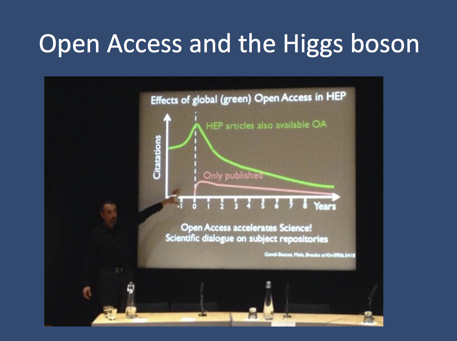 Open Access and the Higgs boson. The central role of CERN provides an ideal opportunity to measure the impact of different publication strategies. Open Access provides a higher number of citations compared to publications hidden behind a so-called paywall. In addition, the data might even be cited pre-publication. [Salvatore Mele during his keynote at #solo13blogs, picture taken by Jon Tennant].