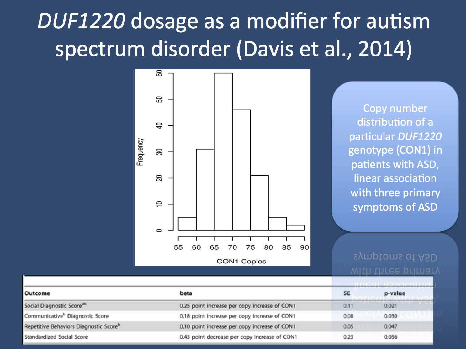 Figures from the publication by Davis and collaborators. DUF1220 dosage is distributed in patients with autism spectrum disorders (ASD) in an almost Gaussian fashion, which is not much different from what is expected in the general population. However, there is a linear correlation between DUF1220 dosage and various ASD-related features including measures for social deficits, communicative impairments, and repetitive behaviors (figure adapted from the publication by Davis and collaborators under a Creative Commons License).