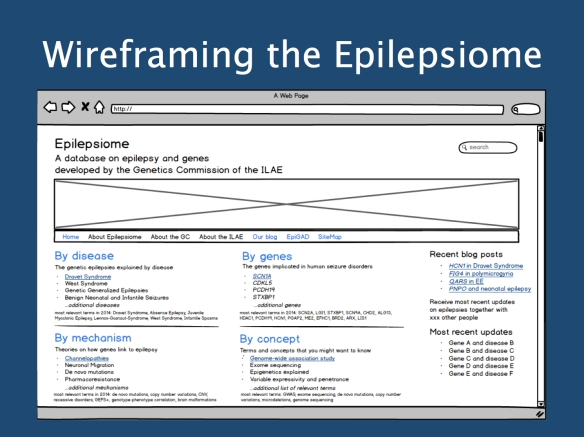 Screenshot of our Epilepsiome wireframe (mock-up website) that we created with Balsamiq. This should give you a rough idea of what you might expect in a year from now. We hope that we can generate stable funding for this database to provide the necessary tool for the ever-increasing complexity of epilepsy genetics.