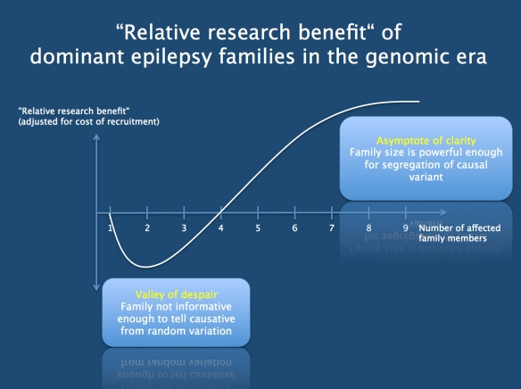 """The hypothetical measure of """"relative research benefit"""". Compared to the recruitment of singletons, what would be the benefit of using the same efforts for recruiting families? We would recruit fewer families, but theses families might give us more genetic information. As you can see from the chart, family recruitment of dominant families only makes sense if the families are sufficiently large. In smaller dominant families, there will be too much genomic noise to identify the causative gene. Accordingly, recruiting small families may lead us into the """"valley of despair"""". The relative research benefit increases only if the families become sufficiently large."""